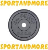 ScSports Halterschijven - 4x 0,5 kg - Ø 30.5 mm - Zwart Gietijzer
