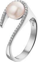 The Jewelry Collection Ring Parel En Zirkonia - Zilver Gerhodineerd