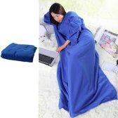 Snug fleece deken met mouwen - Blauw - TV - Warmtedeken - Bankdekentje - Bankdeken - Dekentje - Deken - Bank - Snug-rug - Knuffeldeken - Knuffeldekentje - Lounge - Staartdeken - Plaid - Plaids - TV-deken