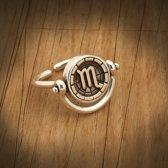 Biggdesign Scorpio Zodiac zilveren ring voor dames | Bronzen detail | Zirkonia steen | Horoscoop sieraden op maat | Verjaardagscadeau | Dubbelzijdige ring | Speciaal ontwerp | 925 sterling zilver