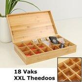 Luxe grote XXL theedoos van bamboe hout – 18 vaks theekist voor thee - Decopatent®