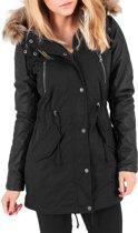 Urban Classics Ladies Leather Imitation Sleeve Parka TB1091 blk/blk maat M
