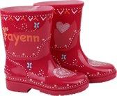 roze kinder regenlaarzen met naam figuur hartje maat 22