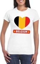 Belgie hart vlag t-shirt wit dames L