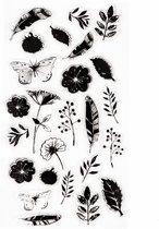 Siliconen Stempels Nature   Stempels met Afbeeldingen van Takjes, Bloemetjes en Vlinders