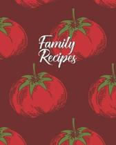 Family Recipes: Personalized Blank Cookbook and Custom Recipe Journal to Write in Cute Gift for Women Mom Wife: Tomato Pomodoro Patter