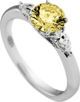 Diamonfire - Zilveren ring met steen Maat 18.5 - Solitaire - Iconic Yellow - Gele steen