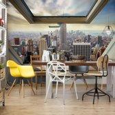 Fotobehang New York City Skyline 3D Skylight Window View | V4 - 254cm x 184cm | 130gr/m2 Vlies