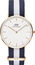 Daniel Wellington 0503DW Classic Glasgow - 36 mm - Blauw/Wit