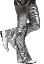 Zilverkleurige disco broek voor mannen - Volwassenen kostuums