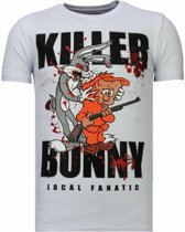 Local Fanatic Killer Bunny - Rhinestone T-shirt - Wit - Maten: XXL