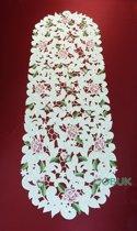 Tafelkleed - Open gewerkt met roze bloem - Loper 170 cm - 7662-RSZ