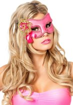 Masker ogen met kralen roze