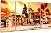 Glasschilderij Gebouw | Oranje, Bruin, Geel | 160x80cm 4Luik | Foto print op Glas |  F002457