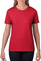 Basic ronde hals t-shirt rood voor dames - Casual shirts - Dameskleding t-shirt rood XL (42/54)