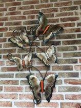 Wanddecoratie - Wandbord vlinders van metaal - 55 x 90 cm