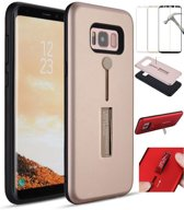 Teleplus Samsung Galaxy S8 Plus Double Layer Drawstring Cover Rose Gold + Full Closure Glass