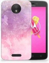 Motorola Moto C TPU Hoesje Design Pink Purple Paint