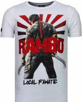Local Fanatic Rambo Shine - Rhinestone T-shirt - Wit - Maten: M