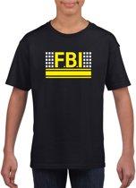FBI logo zwart t-shirt voor jongens en meisjes - Geheim agent verkleedkleding L (146-152)