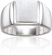 Classics&More - Zilveren Cachetring - Maat 60 - Rechthoek Mat Glanzend
