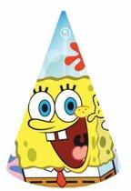 Spongebob thema feesthoedjes 6 stuks