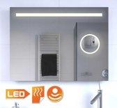 Badkamer spiegel met make-up spiegel verlichting en verwarming 80x60 cm