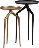 BePureHome Mosquito Bijzettafel - Metaal - Zwart/Antique Brass - Set v2