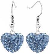 Fako Bijoux® - Oorbellen - Disco Dots - Hanger - Hart - Blauw