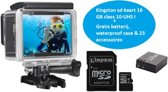 Lipa AT-30 4K action camera + Goodram microSD-kaart 16 GB + 32 mounts + Waterproof case + 16 MP + Wifi phone remote/ Startklaar pakket