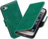 MiniPrijzen - Groen vintage lederlook bookcase voor de iPhone 5 wallet hoesje flip cover iPhone 5 telefoonhoesje - smartphone hoesje - beschermhoes
