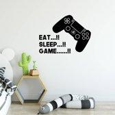 Muursticker Eat, Sleep Game -  Zwart -  140 x 105 cm  - Muursticker4Sale