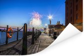 Vuurwerk in het Britse Liverpool in Europa Poster 120x80 cm - Foto print op Poster (wanddecoratie woonkamer / slaapkamer) / Europese steden Poster