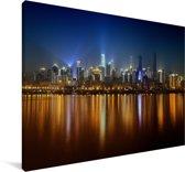 Verlichting in de Chinese stad Chongqing in de nacht Canvas 30x20 cm - klein - Foto print op Canvas schilderij (Wanddecoratie woonkamer / slaapkamer) / Aziatische steden Canvas Schilderijen