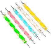 Nail art tools - Druppelpennen - Druppelpen - 5 Stuks - Nail art tool - Vijf verschillende kleuren - KELERINO.