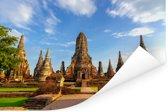 Mooi vooraanzicht van de tempel in Ayutthaya Poster 180x120 cm - Foto print op Poster (wanddecoratie woonkamer / slaapkamer) XXL / Groot formaat!