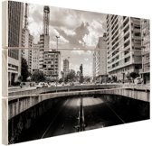 Sao Paulo zwart-wit Hout 60x40 cm - Foto print op Hout (Wanddecoratie)
