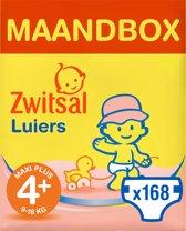 Zwitsal Maandbox Maat 4+ (Maxi Plus) 9-18 kg Luiers - 168 stuks