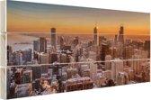 Chicago bij nacht Hout 160x120 cm - Foto print op Hout (Wanddecoratie) XXL / Groot formaat!