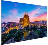 Sagrada Familia in avondlicht Aluminium 60x40 cm - Foto print op Aluminium (metaal wanddecoratie)