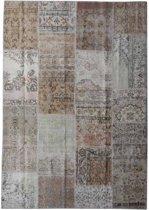 Vintage patchwork vloerkleed beige/ pastel - Afmeting: 245 x 170
