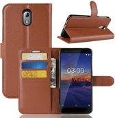 Nokia 3.1 Hoesje - Book Case  - Bruin