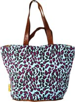Mycha Ibiza – leopard tas - shopper - Strandtas - tas met rits - turquoise blauw – Ibiza – 100% katoen