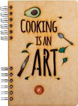 Houten notitieboek - A5 - Gelinieerd - Cooking is an Art