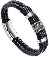 Victorious – Zwart Leren Armband – Eenvoudige RVS-sluiting - Mannen – 22cm