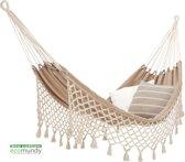 ECOMUNDY ROMANCE XL 360 BEIGE/ECRU - Luxe 2-persoons hangmat met franje - handgeweven - GOTS BIOLOGISCH katoen - 160x240x360cm max 250kg