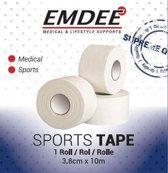 EMDEE sporttape 10mx3.8cm wit 1 stuk