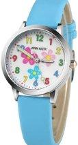 Kinder horloge- Bloem- Blauw-30 mm