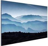 Silhouette van bergen Aluminium 180x120 cm - Foto print op Aluminium (metaal wanddecoratie) XXL / Groot formaat!