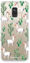 FOONCASE Samsung Galaxy A8 2018 hoesje TPU Soft Case - Back Cover - Alpaca / Lama
